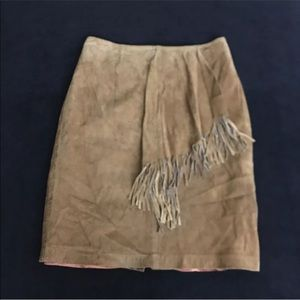 JH COLLECTIBLES LEATHER FRINGE SKIRT SIZE 14